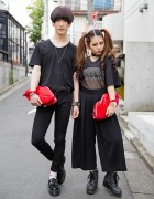 Harajuku Couple in Black w/ Lips Clutches, Emoda, Lad Musician & Vivienne Westwood