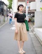 Harajuku Girl in Zara Midi Skirt, Haight & Ashbury Jewelry & Sandals