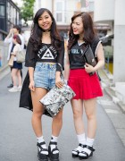 Harajuku Girls in Fig&Viper w/ Platform Sandals & Clutches
