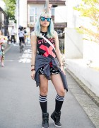 Harajuku Girl w/ Aqua Hair, Fig&Viper, Stussy & Puma Wedge Sneakers