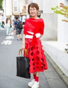 Red Comme des Garcons Cutout Skirt, Platforms & Bamboo Handle Tote in Harajuku