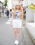 Harajuku Girl in Mickey & Donald Crop Top, Pleated Skirt & Socks w/ Sandals