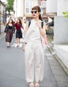Harajuku Girl in Minimalist Look w/ Gold Sandals & Marc Jacobs Bag