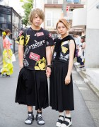 Blonde Harajuku Couple in Graphic Tops & Sandals w/ Rirandture, Justin Davis & Diesel