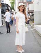 J-Pop Singer Harajuku w/ All White Fashion, Hat & United Arrows