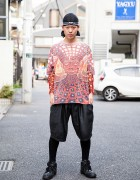 Dog Harajuku Staffer in Do-Rag, Graphic Top & Shorts Over Leggings