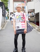Harajuku Guy in Skirt Over Pants w/ Alexander Wang, MYOB & Adidas x Jeremy Scott