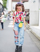 Harajuku Girl in Twin Tails, Ariel Disney T-Shirt & Cutout Heart Jeans