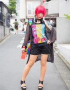 Pink Haired Harajuku Girl w/ Cat Tattoos, Piercings, and Vivienne Westwood Rings