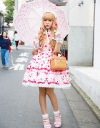 Strawberry Print Angelic Pretty Lolita Dress w/ Parasol, Basket Bag & Spank! Accessories