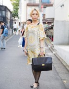 Harajuku Girl w/ Neck Tattoo in Gallarda Galante Dress, Kalliste Flats & Vintage Briefcase