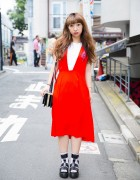 Harajuku Girl in Toga Dress, Dr. Martens Sandals w/ Socks & H&M Purse