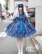 Harajuku Lolita in Angelic Pretty Dress, Wings Veil & Gold Glitter Shoes