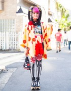 Harajuku Girl w/ Twin Tails & Pink Bangs in Floral Kimono, Randoseru & Vivienne Westwood Armor Ring