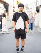 Harajuku Girl w/ All Black Resale Shorts, YakPack Backpack & Adidas Sneakers