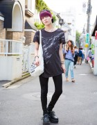 Harajuku Guy w/ Purple Hair in Uniqlo Skinny Jeans, Platform Creepers & Vivienne Westwood