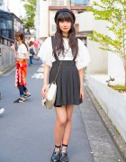 Harajuku Girl in Beret, Suspenders Skirt, Romantic Standard Top & Loafers