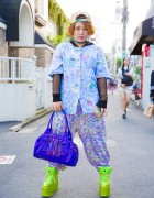 Harajuku Girl in Colorful Style w/ Neon Spike Platforms, Panama Boy & Kinji Resale