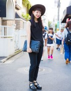 Harajuku Girl in All Black w/ Clutch, Hat, Platform Sandals, Uniqlo & WEGO