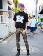 "Purple-Haired Harajuku Guy in Hyein Seo ""School Kills"" Tee, 99%IS- & Converse"