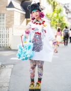 Harajuku Girl w/ Pink Hair, Ahcahcum Muchacha Plush Dogs Bag & Butterfly Earrings