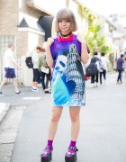 Kyary Fan in Harajuku w/ Panda x Pisa Dress, Yosuke Sandals, Monster Backpack & O-Ring Choker