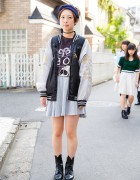 Harajuku Girl in Oversized Sukajan Jacket, Boy London & Dr. Martens Boots