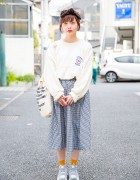 Oversized NFL Sweater, Gingham Skirt & Retro Pump Sneakers in Harajuku