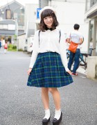 Cute Harajuku Street Style w/ Spinns Plaid Skirt, Wedge Loafers & Disney Backpack