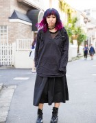 Harajuku Girl w/ Blue-Purple Hair in Ikumi, E hyphen world gallery & Monki Fashion