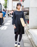 Harajuku Girl in Minimalist Style w/ Black Dress, Mint Designs & Tokyo Bopper