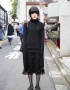 Harajuku Girl in All Black w/ Extra Long Sleeve 99% IS Turtleneck, Etienne Aigner & DKNY