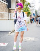 Harajuku Girl w/ Colorful Hair, Dempagumi.inc Dress, 6%DOKIDOKI & Cosmic Magicals