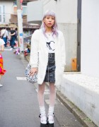 Lilac Haired Harajuku Girl in  Leather Skirt, LilLilly, Tokyo Funks & Cannabis x k3 x Vargas Platform Sandals