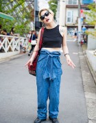 Harajuku Girl in Crop Top, Denim Overalls, Nicole Lee Bag & Puma Sneakers