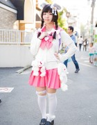 Harajuku Girl w/ Furry Ears & Tail, Pink Sailor Uniform & Plush Bunny Backpack