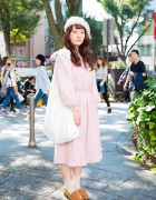 Harajuku Girl in Furry Beret, Resale Pink Dress & Loafers