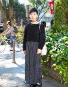 Harajuku Girl w/ Short Hairstyle in Fluffy Sweater, Resale Maxi Skirt & Tokyo Bopper Platform Shoes