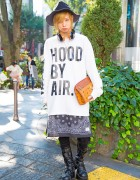 Harajuku Guy in Hood By Air, Bandana Skirt, Studded Boots & MCM Headphones