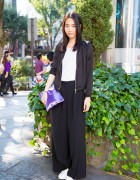 Harajuku Model in Bershka Jacket, Wide Leg Pants & Studded Purple Clutch