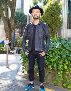 Harajuku Guy in Hat & Glasses w/ AKM x Lee Denim Jacket, DSPTCH Backpack & Uniqlo Jeans
