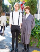 Harajuku Duo in Minimalist Styles w/ Suspenders, Maxi Coat & Oxfords