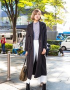 Harajuku Girl in Emoda Trench Coat, Diesel Bag & Zara Ankle Boots