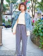 Harajuku Girl in Denim Jacket & Striped Pants