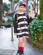 Harajuku Girl w/ Cap, Striped Pin Nap Dress, Nike Air Jordan 7 Sneakers & Nail Art