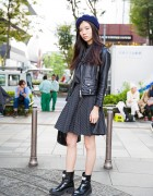 Harajuku Fashion Model in Comme des Garcons Dress, Kenzo Boots & Biker Jacket