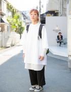 Harajuku Girl in Camber & W Closet w/ Nixon Backpack & Converse Sneakers
