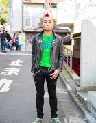 Harajuku Punk w/ Red Mohawk, Leather Jacket, BQ-Design, 666 & Converse