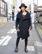 Harajuku Guy in Asymmetrical Coat, Oz Abstract Jewelry, Ksubi & LHP