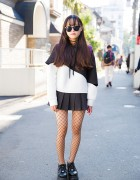 Harajuku Girl in Never Mind the XU, Bubbles Pleated Skirt & Yosuke Shoes